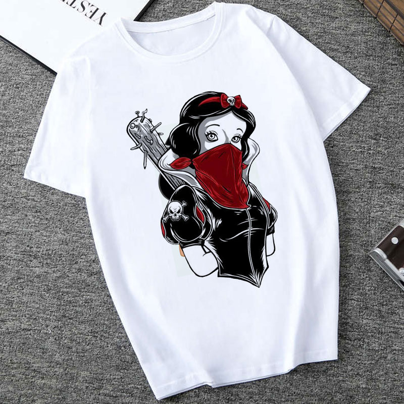 Poleras Mujer De Moda 2019 Summer T Shirt Women Princess Print Vogue Harajuku Aesthetic T Shirt Plus Size T-shirt Camiseta Mujer
