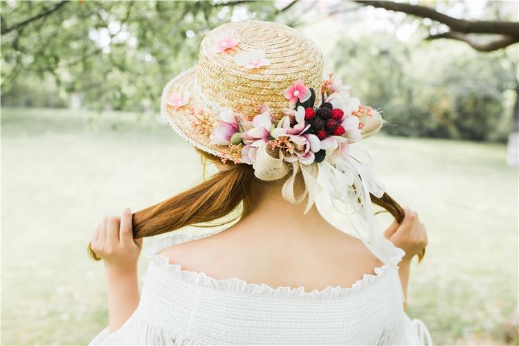 Mori Girl Petite Fresh Fraise Mignon Chapeau De Paille Plage Chapeau De Soleil Lolita Été Cadeau