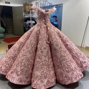 Image 2 - J66661 JANCEMBER parti uzun abiye 2020 sevgiliye kapalı omuz nakış tüyleri kadın elbise