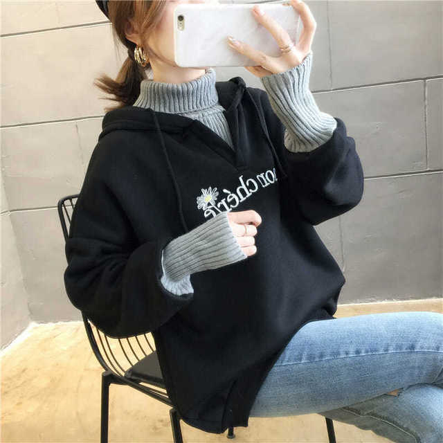 Autumn and Winter New Korean Version of Women's Hooded High Collar Fake Two Fashionable Tops with Plush Thickening for Students 1