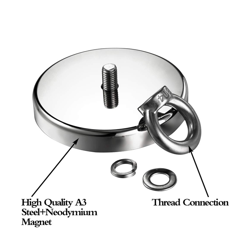 1144Lbs(520Kg) Pulling Force Magnetic,Diameter 4.72Inch(120Mm),Grade N52 Round Neodymium Magnet With Eyebolt And Countersunk H