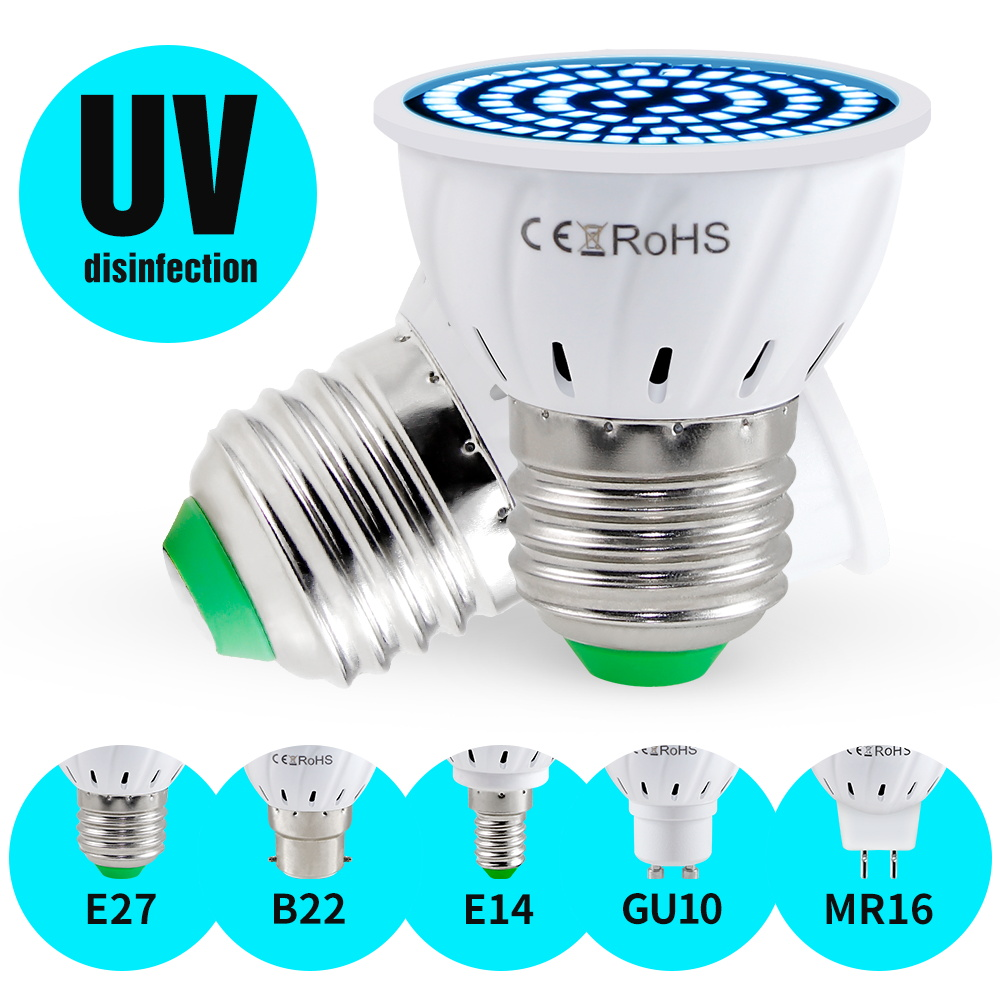 E14 Germicidal Light E27 UV Sterilizer MR16 LED 3W 5W 7W Ozone Lamp Gu10 Ultraviolet Light Indoor Disinfect Bacterial Kill Virus