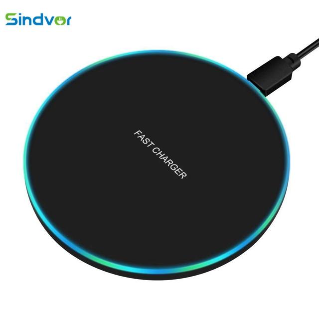 Sindvor 10W Fast Wireless ChargerสำหรับSamsung S10 S20 S9หมายเหตุ10 USB Qi Charging PadสำหรับiPhone SE 11 XS XR X 8 Plus Airpods Pro