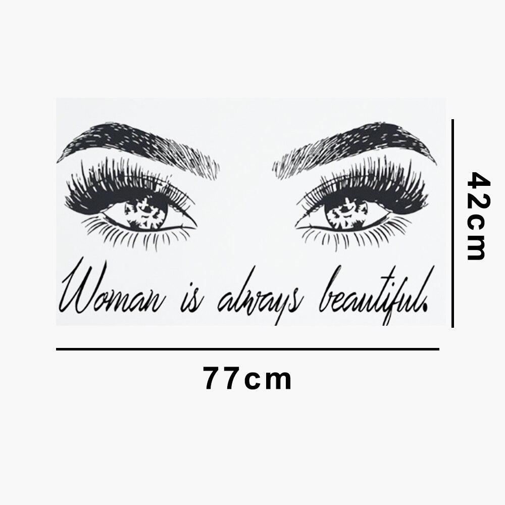 Наклейки на обои модные женские глаза настенные наклейки Съемный