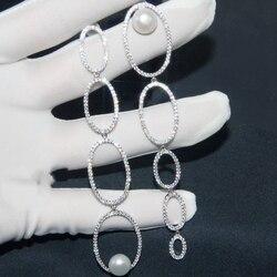 MAGIQUE Style Solid 925 Sterling Silver Earrings AAA Zircon Asymmetric Multi Circles Pearl Long Drop Earrings for Women Jewelry