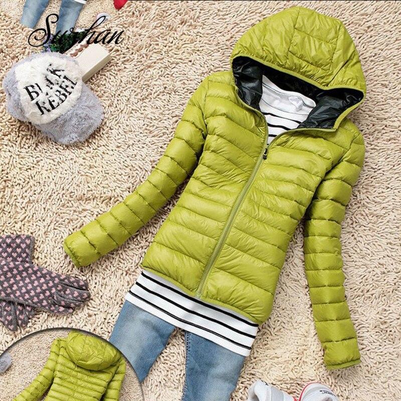Suzhan Thin Down chaqueta 2019 chaqueta de invierno mujer delgada corta con capucha abrigo de mujer