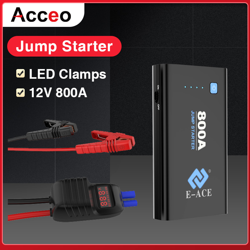 Acceo Car <font><b>Jump</b></font> <font><b>Starter</b></font> X10 Power Bank Car Battery Charger Booster <font><b>800A</b></font> 12V Battery Starting Device Car Emergency Powerbank image