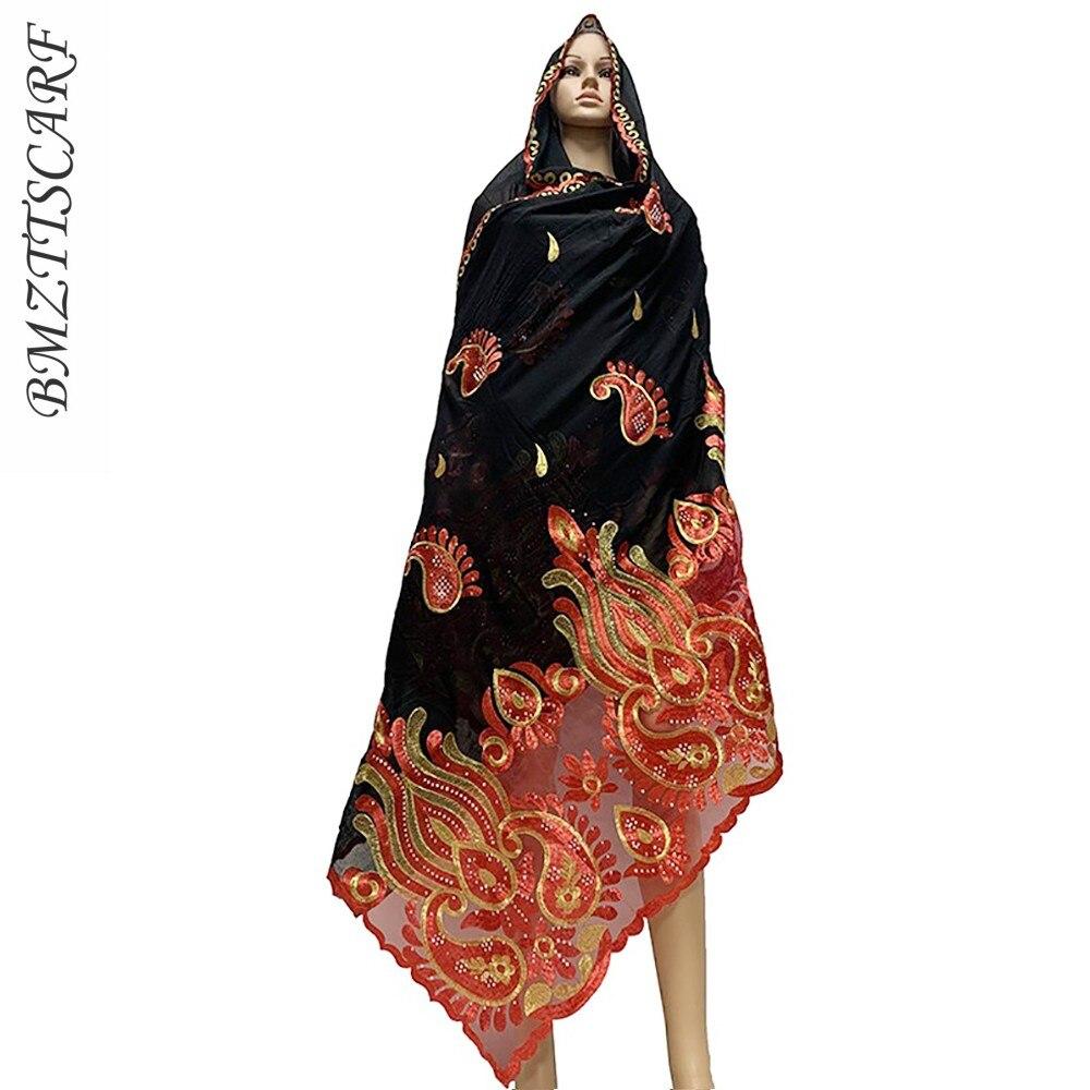New Designs African Women Big Scarfs Muslim Embroidery Cotton splicing net nice design scarfs hijab scarfs BM825