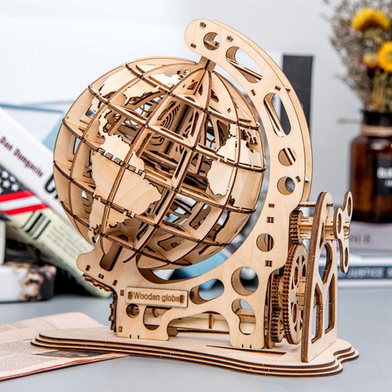 3d de madeira globo quebra cabeca diy unidade mecanica modelo engrenagem transmissao girar montagem casa decoracao