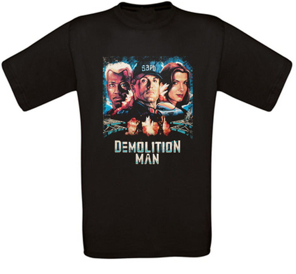 Demolition Man Cult Movie T-Shirt All Sizes NEW Loose Size Tee Shirt image