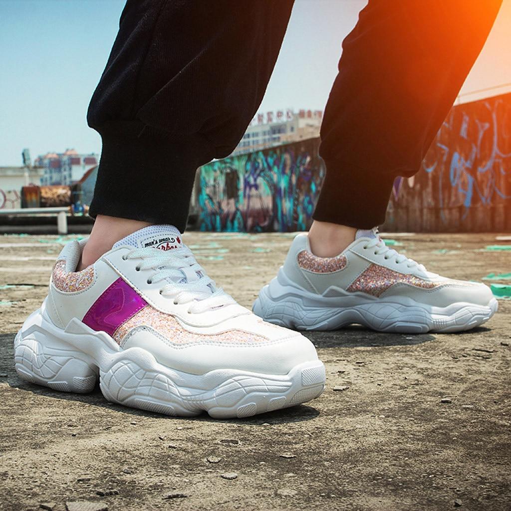 Women/'s Stretch Respirant Maille Volants Tissé Décontracté Plat Semelle Baskets Chaussures