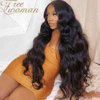 Peluca sintética FREEWOMAN de largo ondulado de 26 pulgadas, pelucas de pelo medio con línea de pelo Natural para mujeres negras, pelucas negras de pelo falso para fiestas