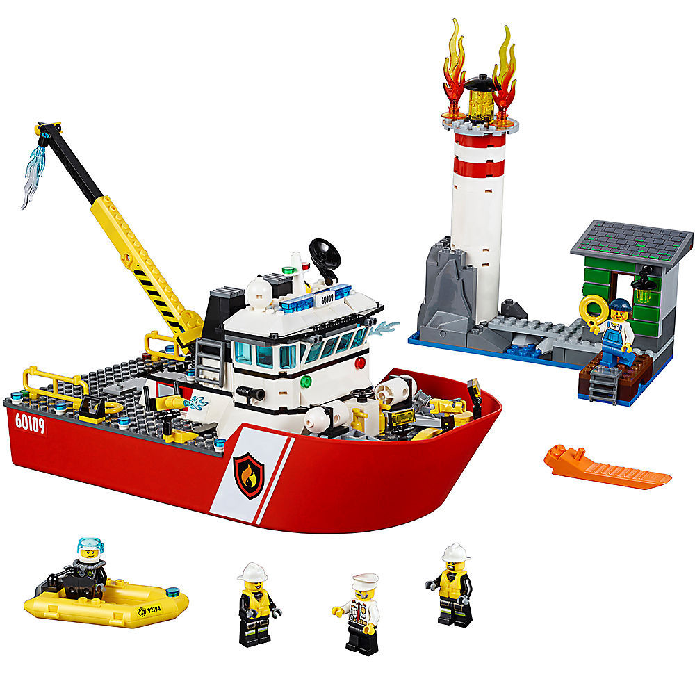 10830 Fire Boat Lepining City Fire Police 60109 Building Blocks Bricks Model Toys For Childrens Kid Gift 461Pcs