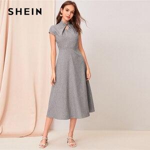 Image 4 - SHEIN, серое, с вырезом, с закручивающимся спереди, с коротким рукавом, расклешенное длинное платье для женщин, летнее, с воротником стойкой, на молнии, сзади, элегантное платье трапециевидной формы