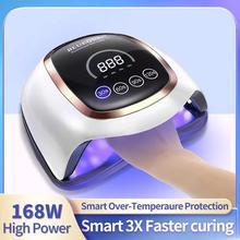 DODDOHOME 168W LED UV nail lamp automatic sensor digital display 4 timer nail drying lamp suitable for gel polishing