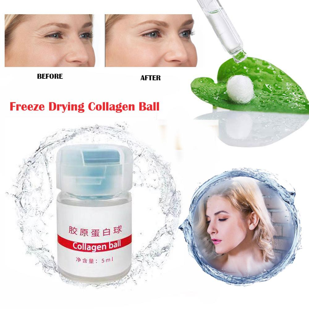 Japan Freeze Drying Pure Collagen Ball Natural Silk Protein Anti Aging Essence Firming Wrinkle Removal Facial Serum 1PCS
