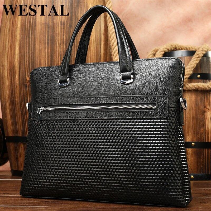 WESTAL Men's Bag Genuine Leather Men Briefcase For Laptop Bag Leather Document/Office Bags For Men Totes Briefcase Male Handbags