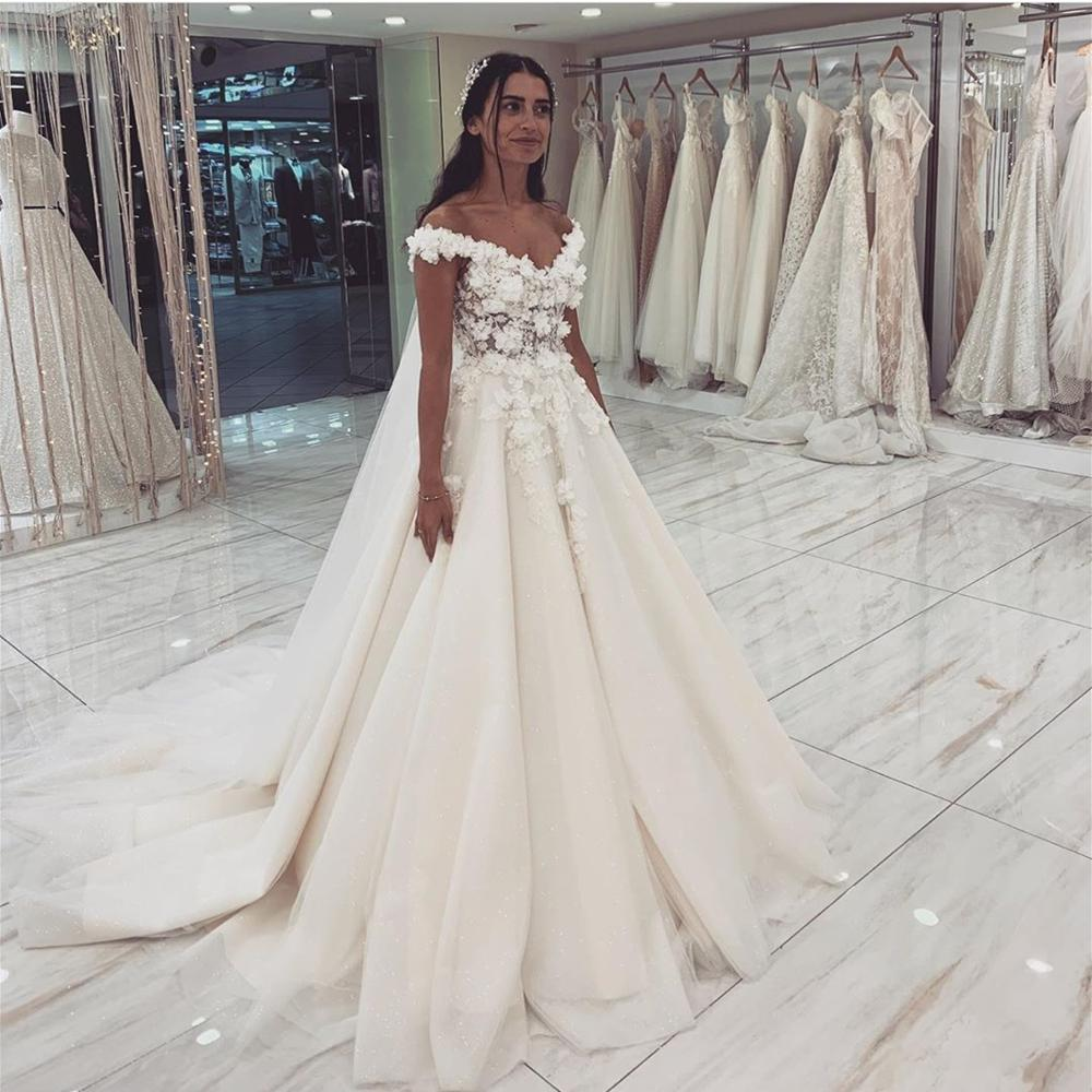 Sexy Sweetheart Wedding Dresses 2020 Top Lace Appliques Sleeveless Bridal Gowns Off the Shoulder Vestido De Noiva