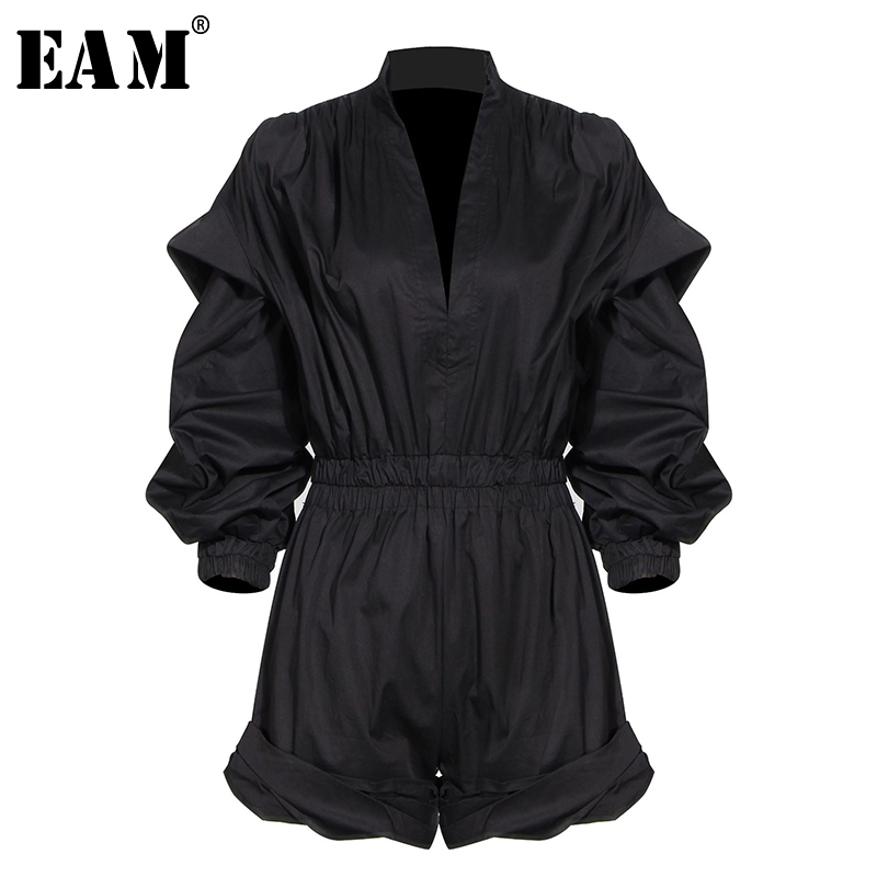 [EAM] Loose Fit Black Pleated Temperament Women Playsuits New High Waist Pocket Stitch  Pants Fashion Spring Autumn 2020 1T128