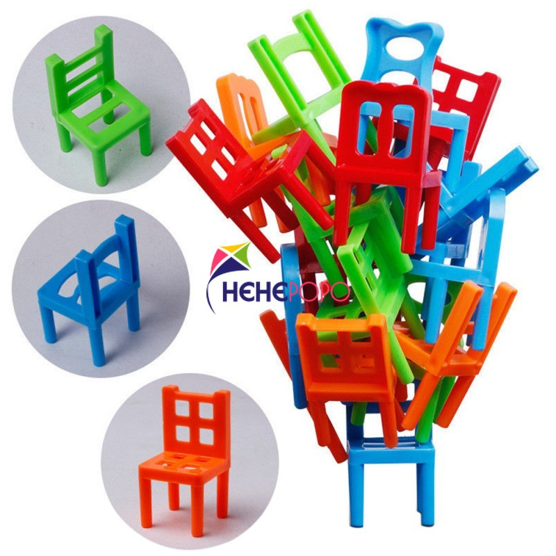 Original Box Hehepopo 18 Pcs / Set Board Game Balance Chairs Adult Kids Stacking Game Parent Child DIY Interactive Table Games