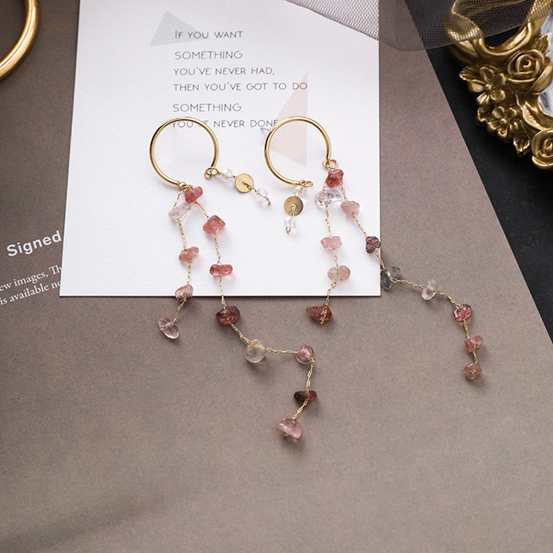 MENGJIQIAO Korean New Fashion Colorful Irregular Stone Long Tassel Drop Earrings For Women Elegant Pendientes Party Jewelry 3