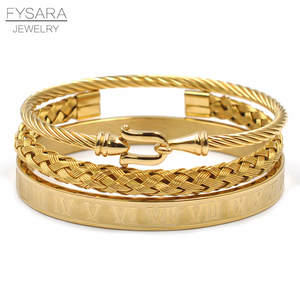 FYSARA 3pcs/Set Royal Roman Bracelets & Bangles Cable Wire Love Bangles For Men Stainless Steel Pulseira Men Jewelry Accessories