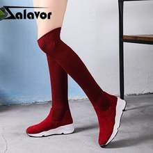 ZALAVOR Women Thigh High Boots Autumn Winter Elastic Knitted Stretch Sock Over The Knee Boots Wedges Shoes Women Size 35-40(China)