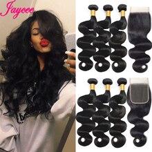 Jaycee BodyWave Bó Với Đóng Cửa 100% Remy Con Người Tóc Bó Với Đóng Cửa Brazil Tóc Weave Gói Đôi Sợi Ngang