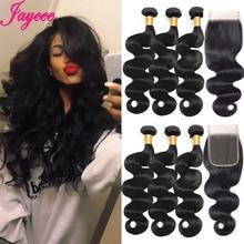 Jaycee BodyWave Bundles With Closure 100% Remy Human Hair Bundles With Closure Malaysian Hair Weave Bundles Double Weft
