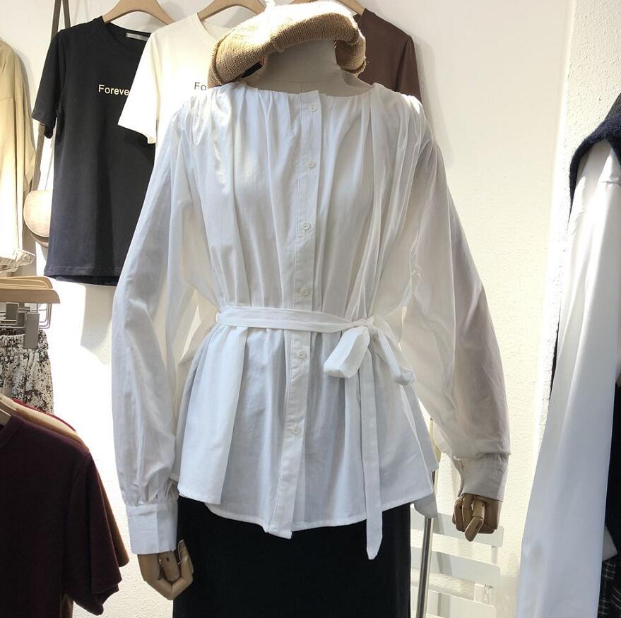 White Cotton Tops And Blouses Korean Long Sleeve Cute Shirts Lolita Sweet Blouses Round Neck Women