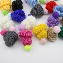 10-50 шт вязаные мини шапки с бубоном DIY ремесло поставки головной убор брошь крючком декор из игрушек ювелирные аксессуары маленькие шапки компоненты