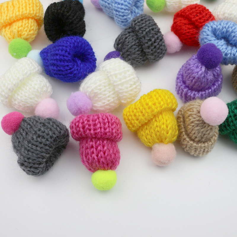 10-50Pcs Knitting Mini Pompon Hats DIY Craft Supplie Headwear Brooch Crochet Toys Decor Jewelry Accessory Small Caps Components