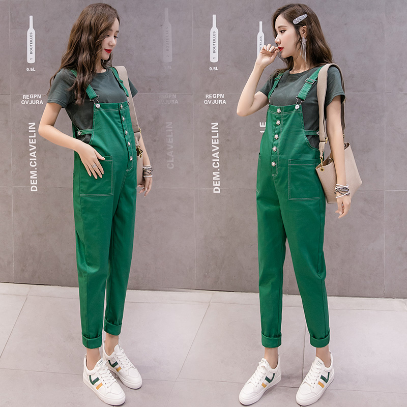 646# Beading Cotton Maternity Jumpsuits Autumn Korean Fashion Overalls For Pregnant Women Fall Pregnancy Bib Long Pants