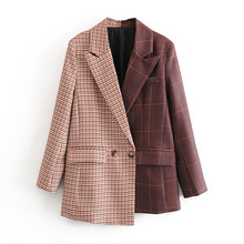 Stylish Irregular Patchwork Plaid suit Blazer Women Notched