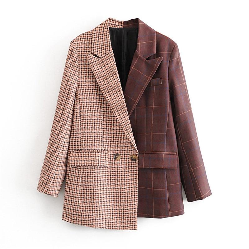 Stylish Irregular Patchwork Plaid Suit Blazer Women Notched Collar Long Sleeve Blazers Coat Female Outerwear Chic Streetwear