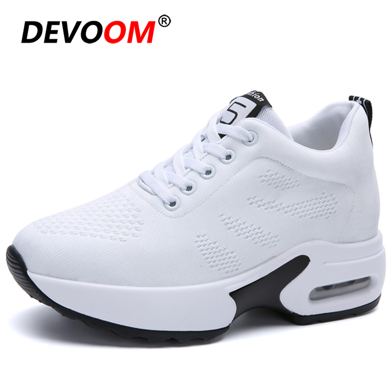 Outdoor New Running Shoes For Women Breathable Flyknit Sneakers Women Jogging Gym Increase Athletic Air Shoes Sport Shoes Woman