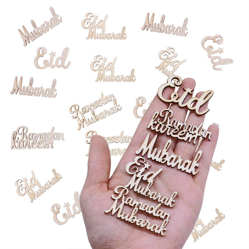 Ramadam Kareem Wood Craft Eid Mubarak Hanging Pendant Alphabet Ornament Islam Muslim Party Supplies