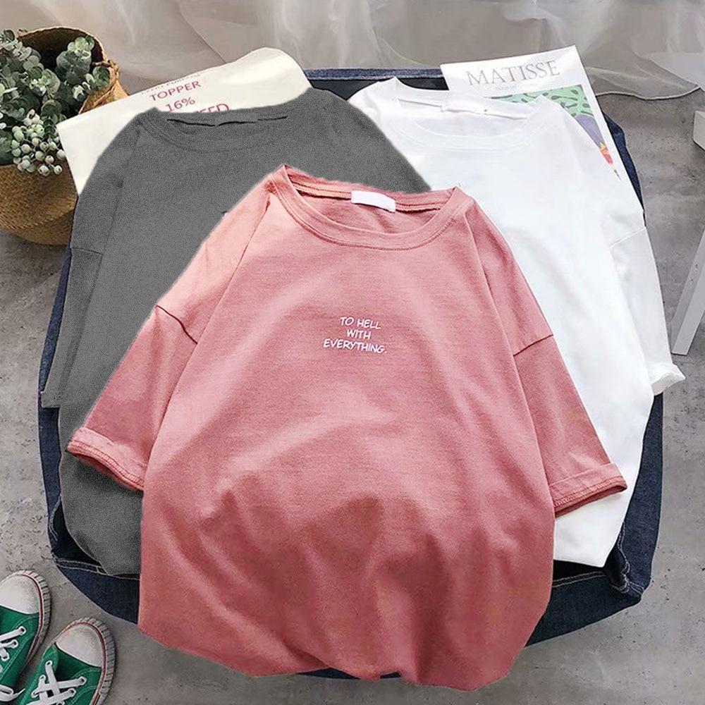 Loose plain T-shirt 2
