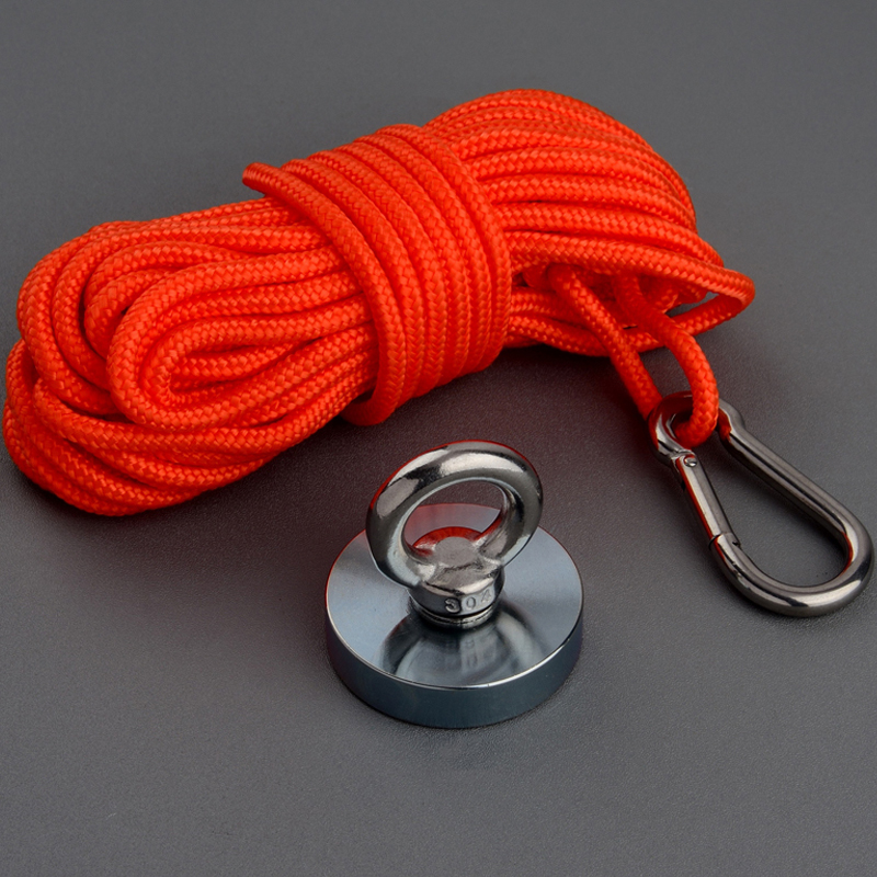 160Kg Design Magnet Strong Neodymium Permanent N52 Magnet Power Fishing Magnet 60mm Magnetic Material Base with 10m Rope
