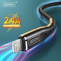 QOOVI Cable USB de 2m 2.4A de carga rápida cargador de teléfono móvil para iPhone 12 11 Pro Max Xs Xr 8X8 iPhone 7 6 6s iPad aire Mini Cable de datos