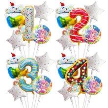 Ballons en forme de Donut en aluminium, 5 pièces, 40 pouces, gâteau aux bonbons arc-en-ciel, Ballon à hélium, décorations transparentes de fête d'anniversaire, jouets pour enfants
