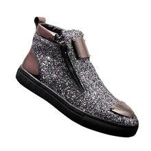 Ботильоны мужские с блестками модные повседневные кожаные ботинки