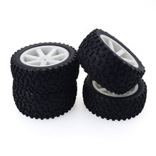 цена на 2019 4PCS 1/10 RC Car Rubber Tyres Plastic Wheels for Redcat HSP HPI Hobbyking Traxxas Losi VRX LRP ZD Racing 1/10 Buggy