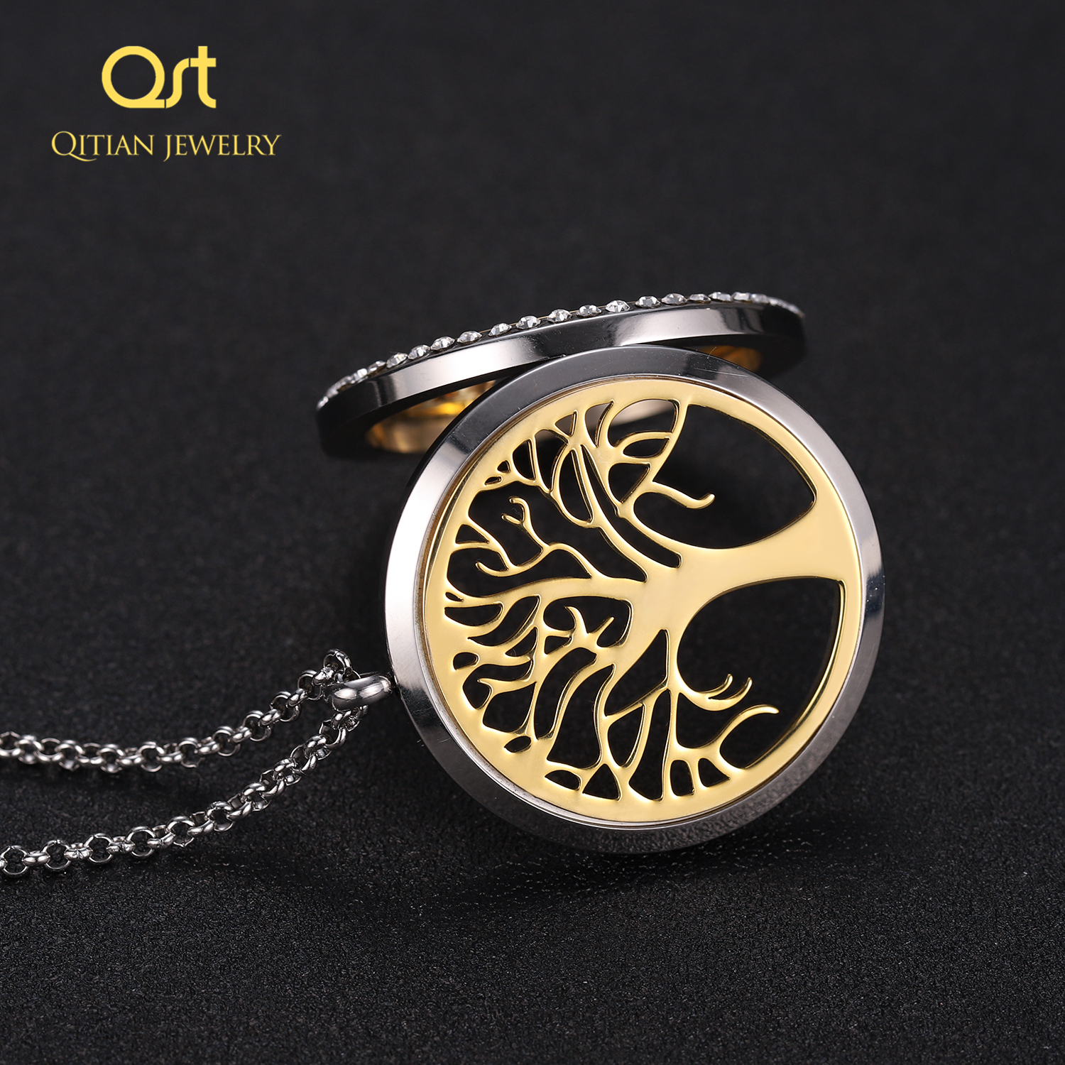 Personalized Statement Family Tree Necklace For Women custom Name Aromatherapy Stainless Steel Necklaces Men Jewelry bijoux Gift 5