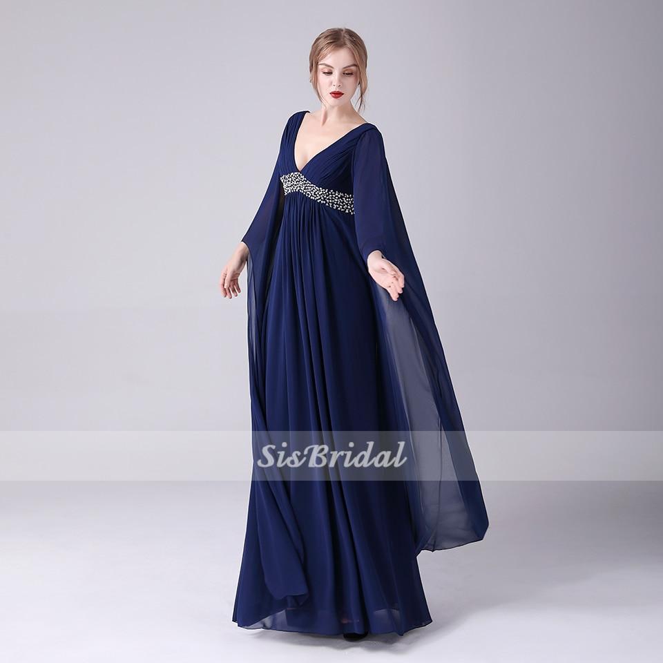 Evening Dress A-Line Deep V-neck Floor-Length Long Sleeves High Waist Chiffon Prom Dress With Beading/Ruffles