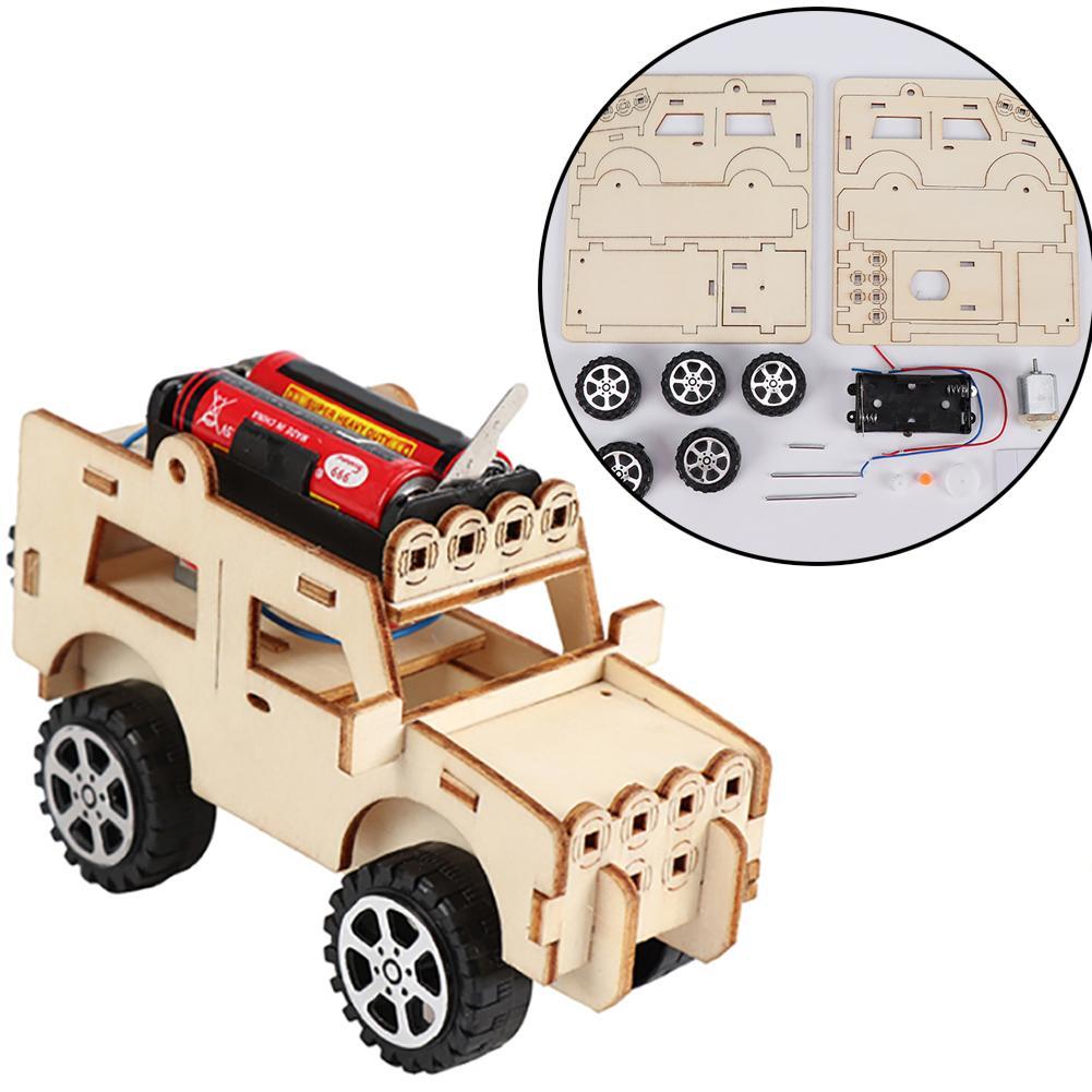 DIY Wooden Electric Jeeps Car Assembled Scientific Experiment Kids Education Toy