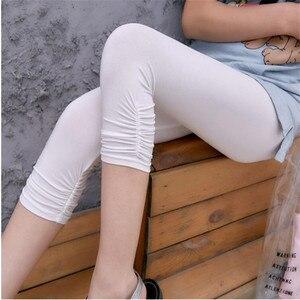 Image 4 - חותלות XS 7XL קיץ Legings נשים 3/4 קצר צועד מכנסיים דק נשים גדול גודל למתוח אפור שחור לבן ורוד 6XL 5XL 4XL 3XL