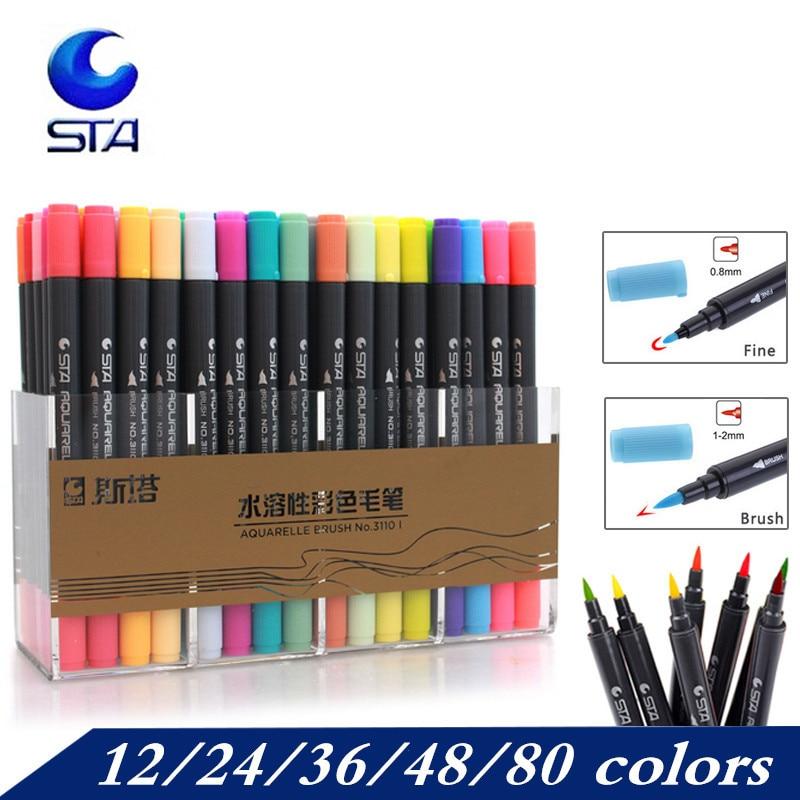 STA 12/24/36/48/80 Colors Artist Brush Sketch Marker Pens Water Based Ink  Twin Tip Art  Marker Pen  Aquarelle Brush Pen FineTip
