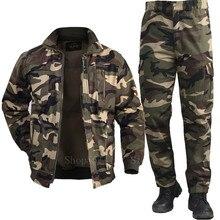 Algodão dos homens jaqueta militar calças de carga definir homem tático camuflagem multicam combate uniforme bombardeiro macio outono ao ar livre workwear