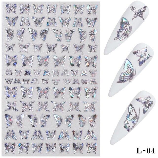 Фото 1 лист золотистых серебристых 3d наклеек для ногтей с бабочками цена